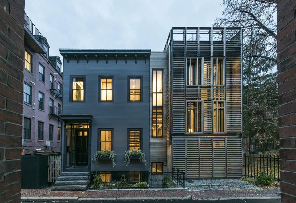 This South End home combines the look of the original (left) with the modern.