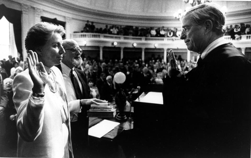 Madeleine Kunin took the oath of office in Montpelier on Jan. 10, 1984. An overflowing crowd watched as Kunin became the first female governor of Vermont.