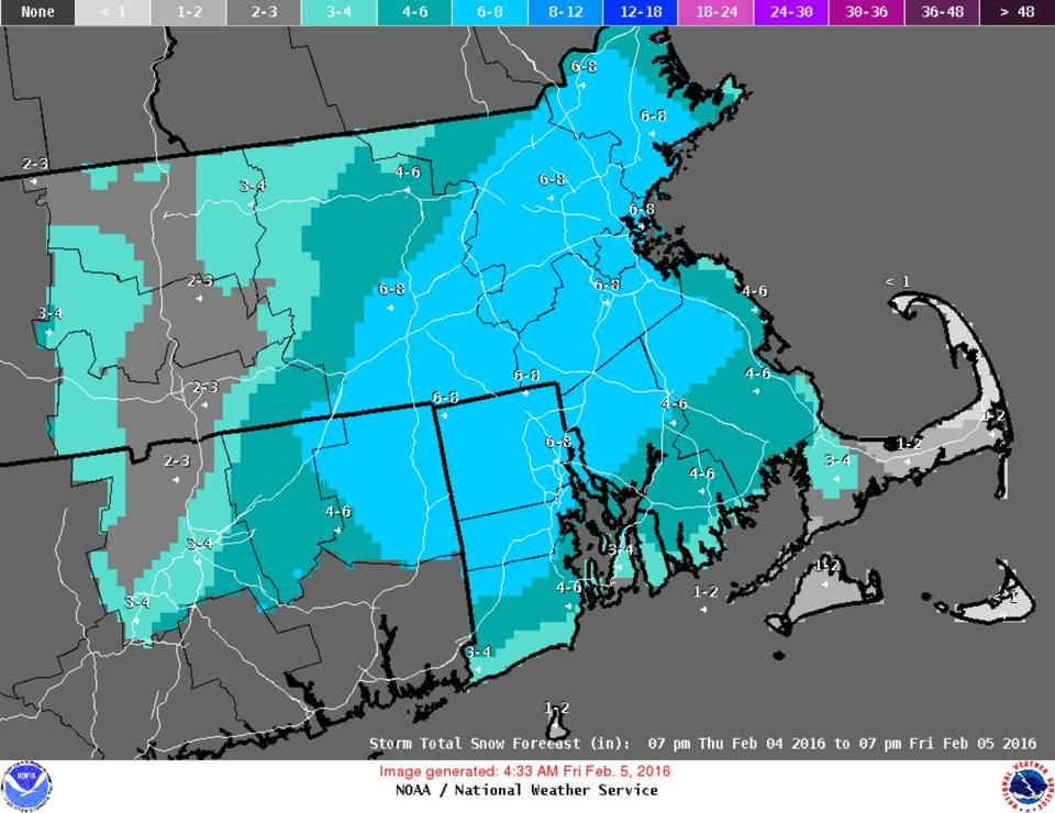 Boston Could See Up To Inches Of Snow Forecasters Say The - Us weather map with expected temperature for feb 3