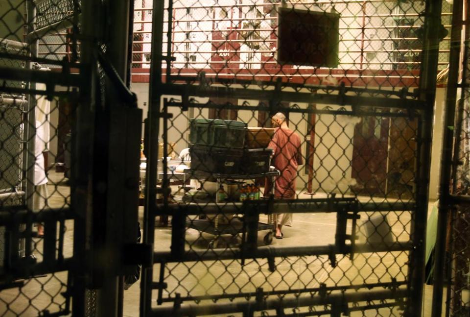 A detainee was seen in the communal area inside Camp 6 in the U.S. prison at Guantanamo Bay, Cuba.