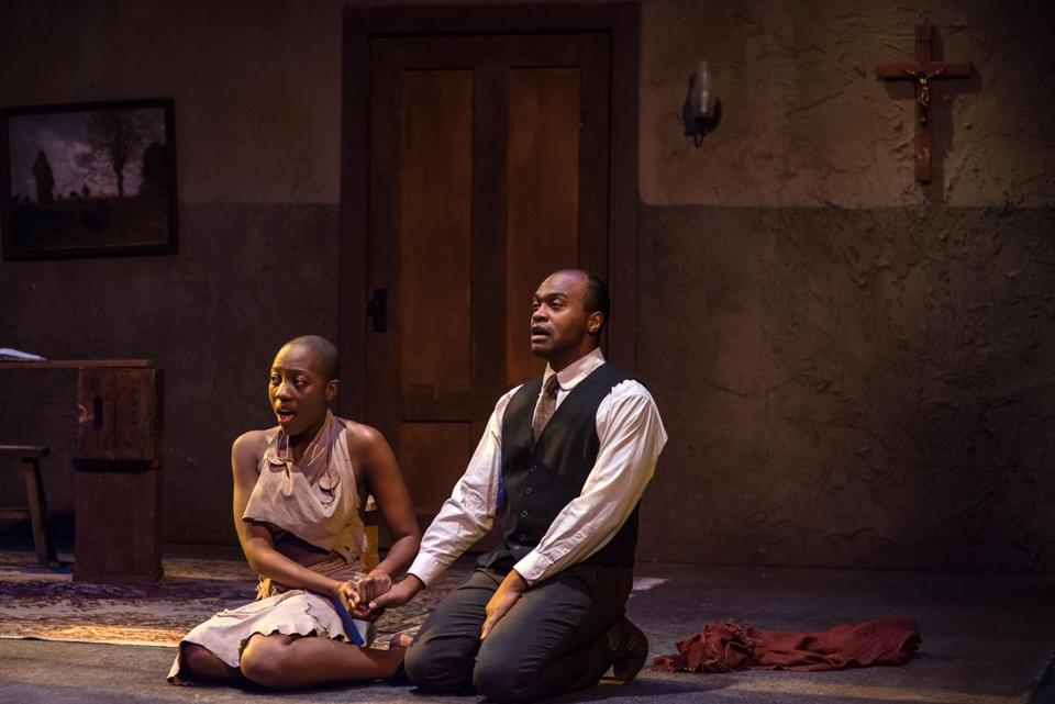 "Adobuere Ebiama and Maurice Emmanuel Parent in the Underground Railway Theater production ""The Convert."""