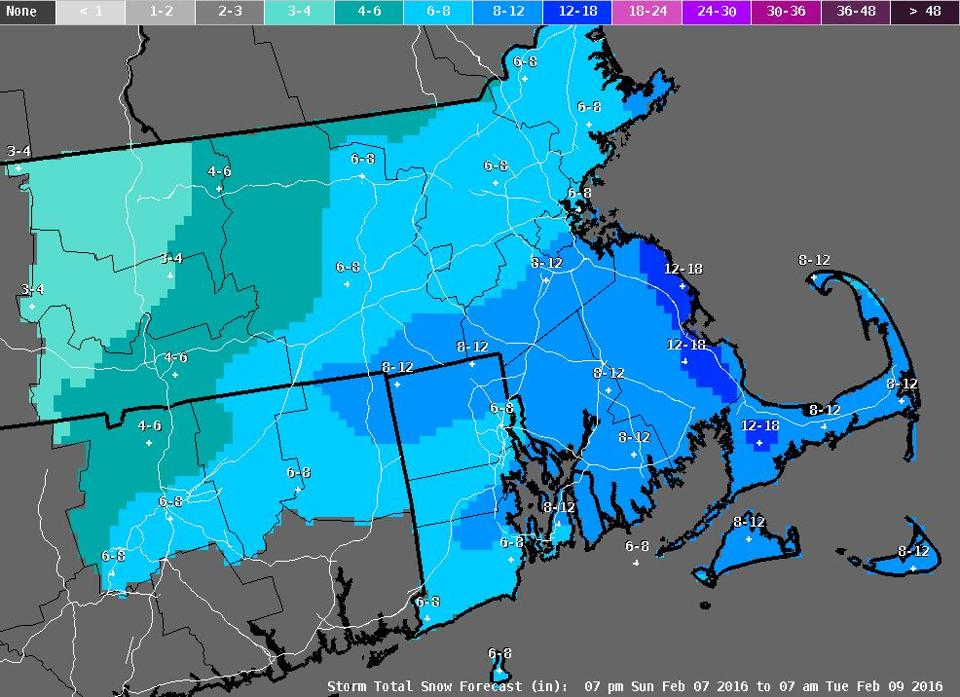 Some Parts Of Mass Expecting 18 Inches Of Snow The Boston Globe