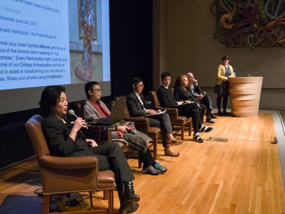 "From left: Panelists Elena Tajima Creef, Reiko Tomii, Xtina Huilan Wang, Ryan Wong, and Barbara Lewis joined Museum of Fine Arts director Matthew Teitelbaum and MFA curator Jasmine Hagans (at podium) for ""Kimono Wednesdays: A Conversation"" at the MFA."