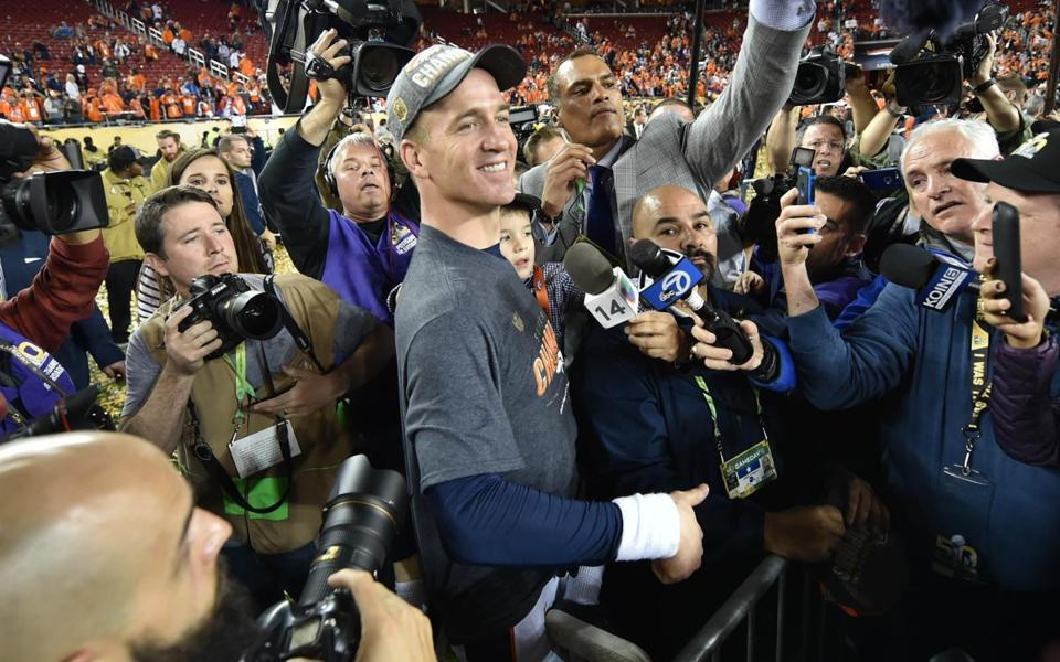"Peyton Manning told a CBS sideline reporter that his postgame plan was to ""drink a lot of Budweiser."""