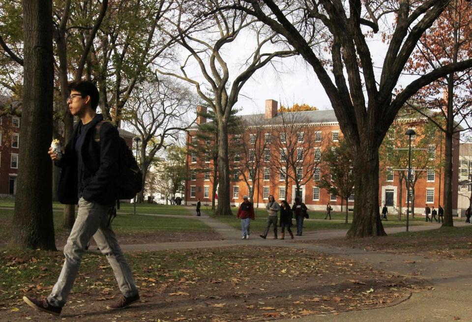A student walked on Harvard University's campus in Cambridge, Mass.