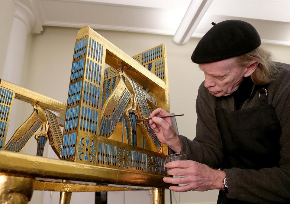 Rus Gant, lead technical artist of the Giza Project, added detail to the finish of the chair of Queen Hetepheres at the Semitic Museum at Harvard.