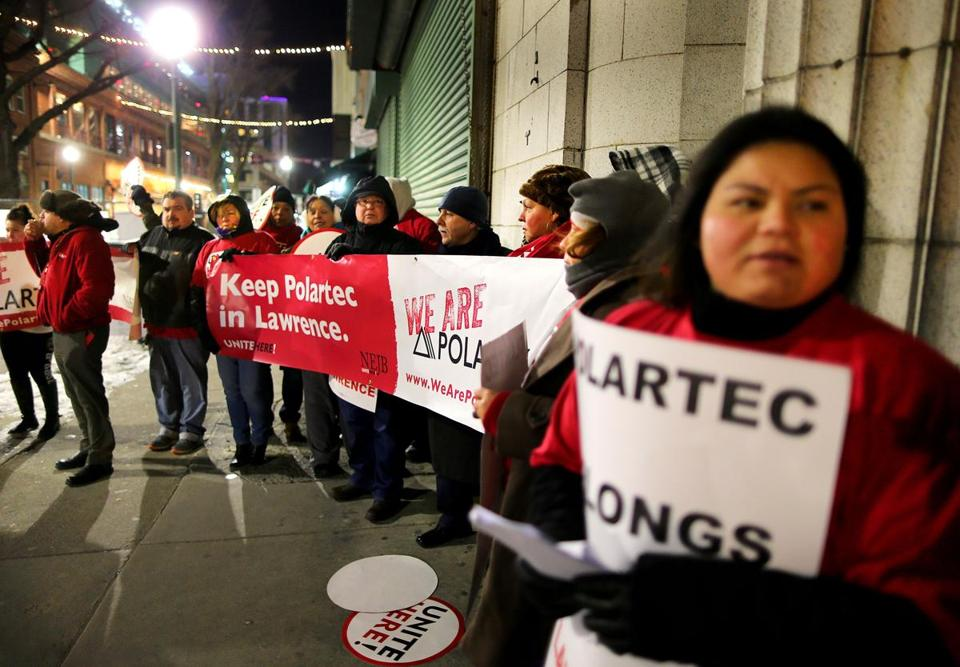 Polartec workers protested outside the Big Air event at Fenway Park on Thursday night.