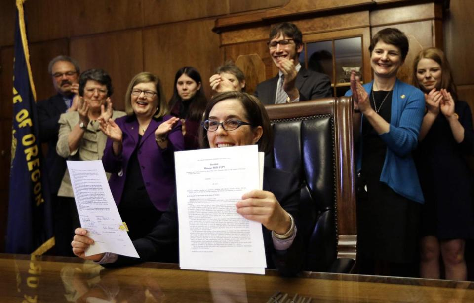 Oregon Governor Kate Brown signed an automatic voter registration bill last March.