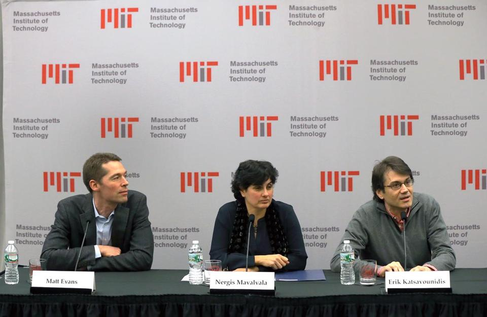 MIT scientists, from left, Matthew Evans, Nergis Mavalvala, and Erik Katsavounidis provide an update on the search for gravitational waves.