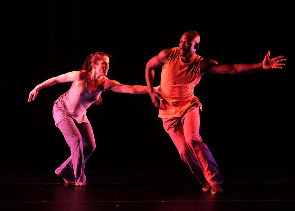 "Wendy Jehlen and Lacina Coulibaly performed excerpts of ""Entangling"" during a dress rehearsal for ""Dance! Dance! Dance!"" at the Institute of Contemporary Art."