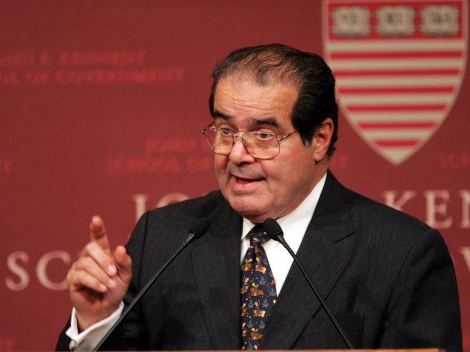 Justice Antonin Scalia spoke at a 2004 event sponsored at an event sponsored by The Institute of Politics at Harvard's John F. Kennedy School of Government.