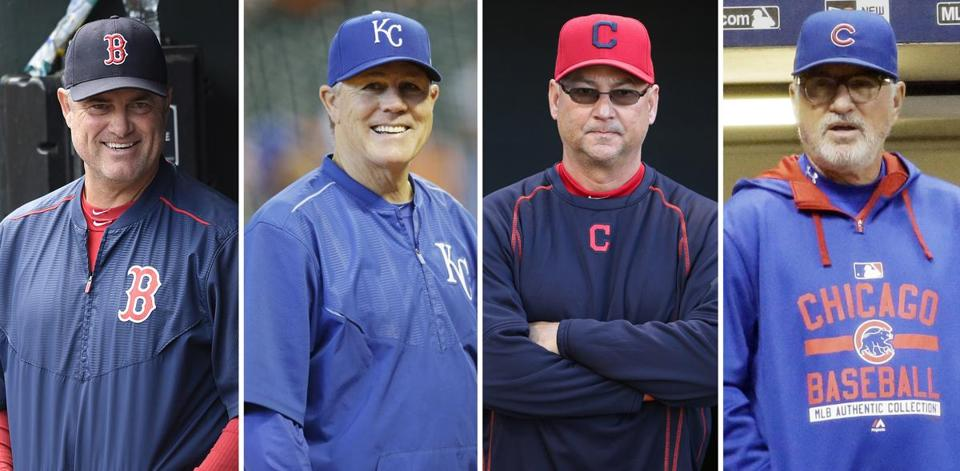 From left: John Farrell, Ned Yost, Terry Francona, and Joe Maddon.
