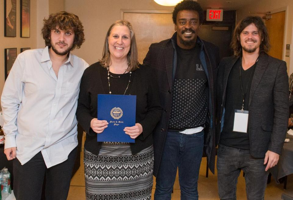 From left: Nicolas Boskis of Owl Master Booking, Julie Burros, Seu Jorge, and Sebastian Fernandez of Owl Master Booking.
