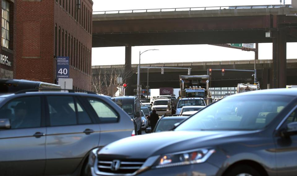 BOSTON, MA - 1/28/2016: The traffic at Sullivan Square in Charlestown around 2pm Charlestown a day after Mayor Martin J. Walsh and gambling mogul Steve Wynn strike a deal. (David L Ryan/Globe Staff Photo) SECTION: METRO TOPIC 29charlestown
