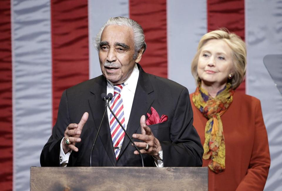Rep. Charles Rangel (D-NY) introduced Hillary Clinton before her speech at the The Schomburg Center for Research in Black Culture in New York City on Tuesday.