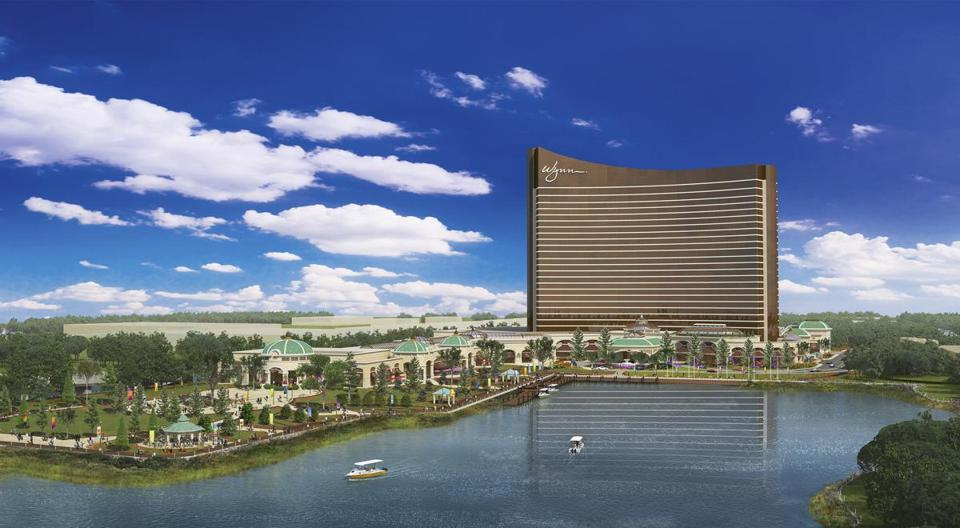 This architectural rendering released by Wynn Resorts shows a daytime view of a redesign of it's proposed Massachusetts in Everett, Mass., unveiled Thursday, Jan. 22, 2015, at the state gaming commission meeting in Boston. Wynn Resorts was awarded a license in September 2015, and has proposed a $1.6 billion resort, casino, hotel and entertainment complex for roughly 33 acres on the Everett waterfront overlooking Boston. (AP Photo/Wynn Resorts)