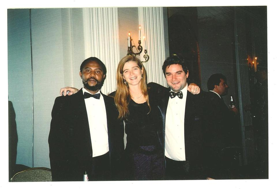 Alexis Sinduhije (left), Samantha Power (middle), and Bryan Rich (right) at the Committee to Protect Journalist awards in 2004.