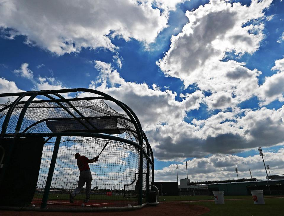 Blake Swihart took some cuts during batting practice Friday in Fort Myers, Fla.