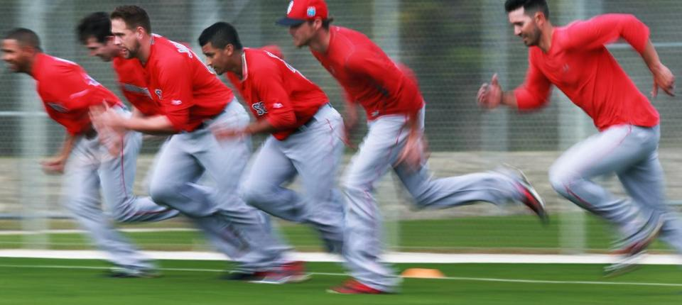 Red Sox pitchers came off the line together during their wind sprints Saturday.