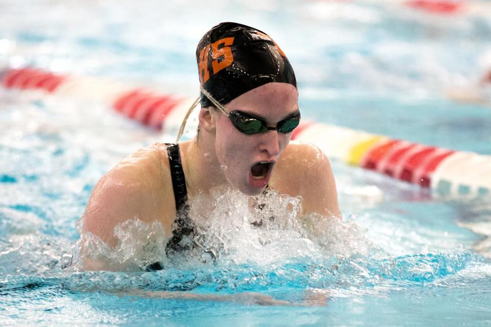 Feb. 19, 2016 - Sarah Welch (cq) a senior from Beverly, competes in the 200 Yard individual medley at the Division 1 girls state swim meet at Agannis Arena in Boston, Mass. Photo Credit: Justin Saglio for the Boston Globe. Section: Sports. Slug: 20d1girlswim.