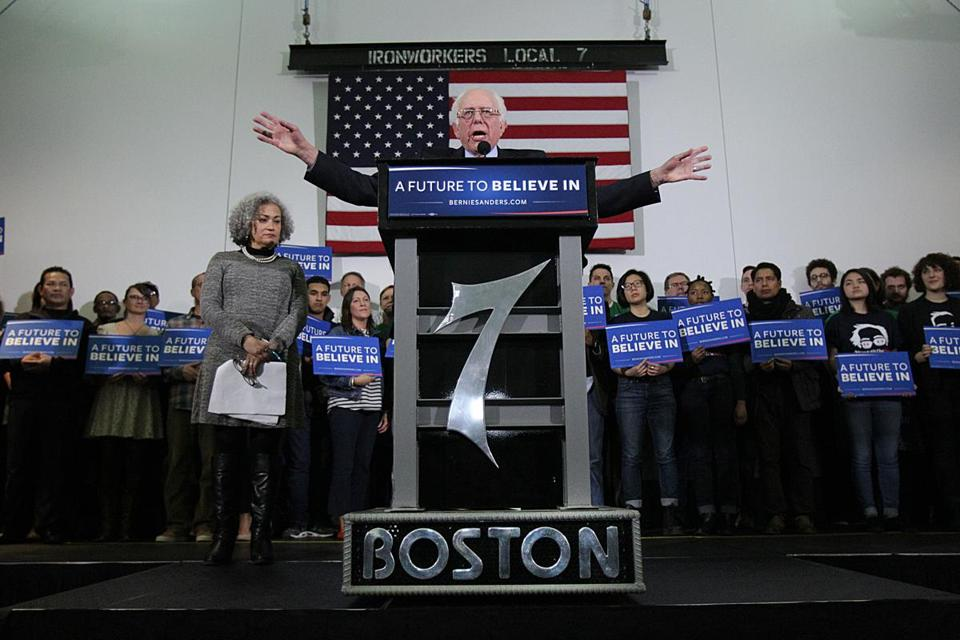 Boston, MA., 02/22/16, Bernie Sanders spoke at the Iron Workers Local 7. Suzanne Kreiter/Globe staff