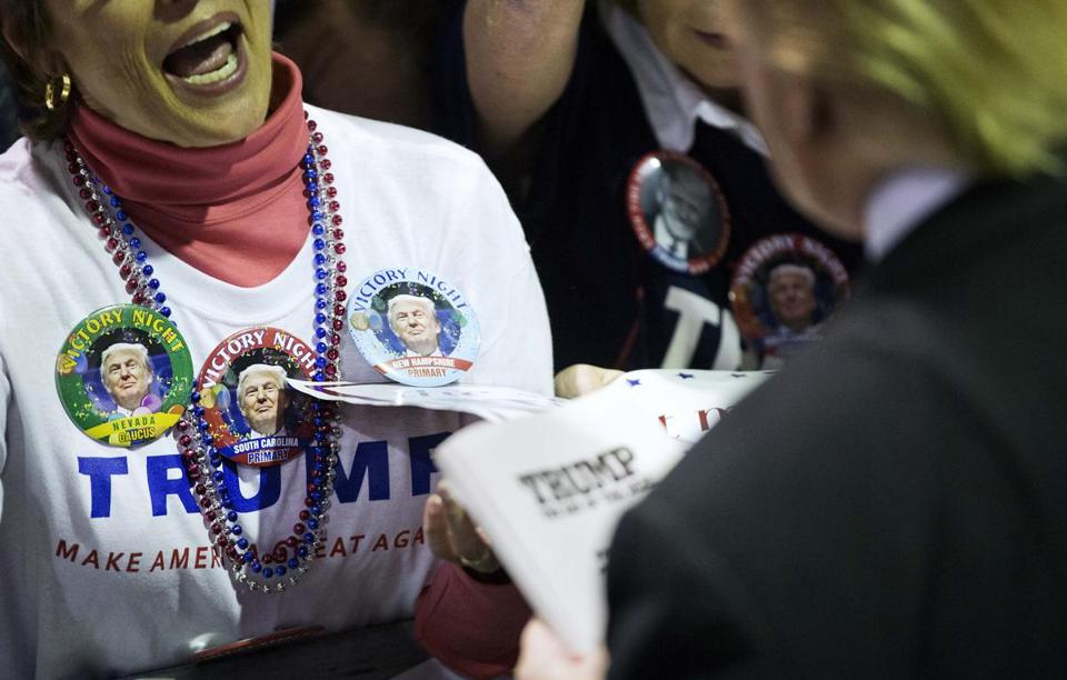 A supporter got an autograph from Donald Trump, the GOP front-runner, at a campaign event Sunday in Atlanta.