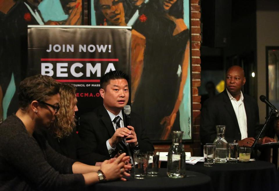 With members of his executive cabinet, School Superintendent Tommy Chang spoke about the state of Boston public education at Darryl's Corner Bar & Kitchen on Monday.