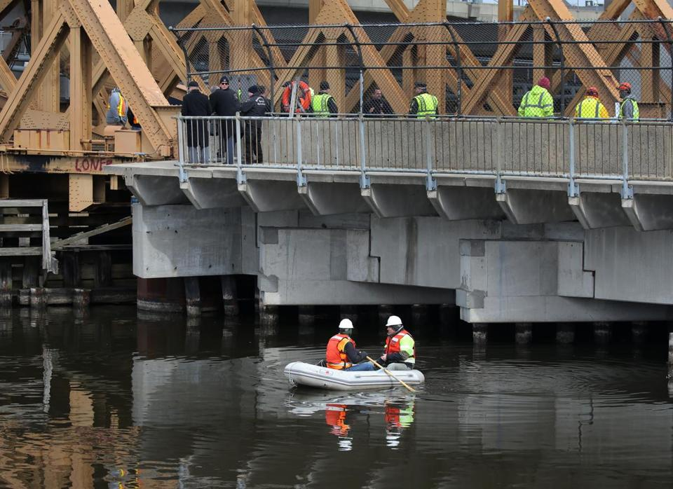 A small inflatable boat was used to get under a bridge near North Station Tuesday as authorities resumed their search for Zachary Marr, a 22-year-old man from the town of Harvard who has been missing since Feb. 13.