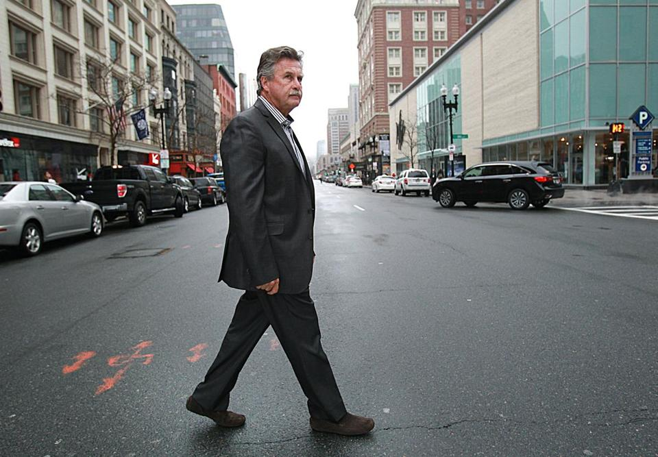 Boston police Sergeant Detective Danny Keeler crossed Boylston Street on Wednesday, his last day of work.