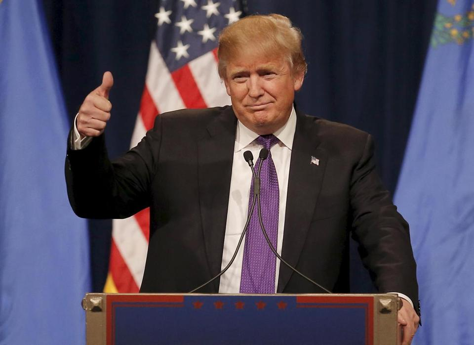 Donald Trump gave a thumbs up to the crowd after addressing supporters.