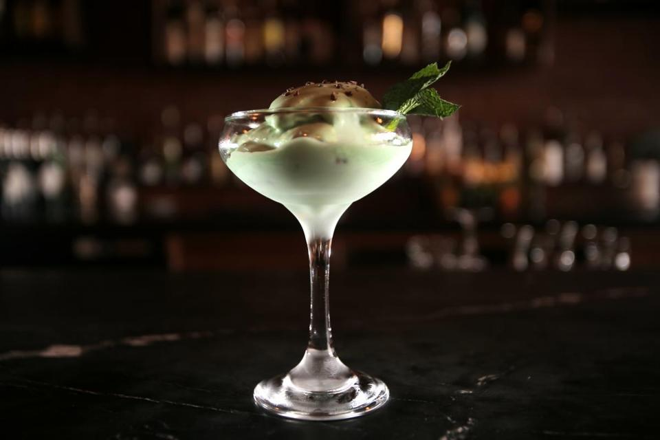 The Grasshopper combines creme de menthe, creme de cacao, and Fernet in mint ice cream base.