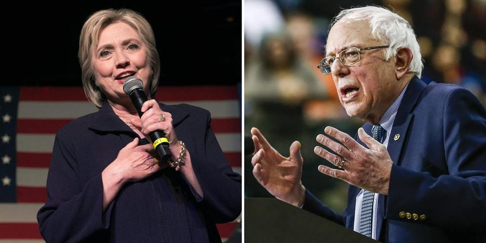 The split between Massachusetts Democratic establishment figures supporting former secretary of state Hillary Clinton (left) and grassroots activists swarming around US Senator Bernie Sanders of Vermont could leave party fissures that linger long after next Tuesday's primary.