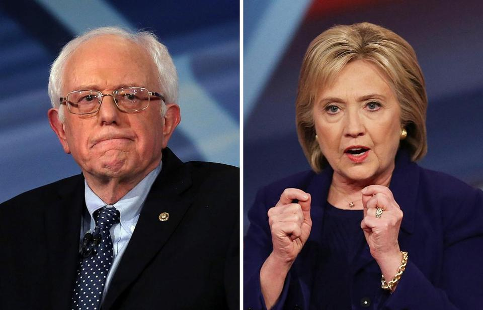 Senator Bernie Sanders (left) and Hillary Clinton (right) are in a statistical tie in a new WBUR survey.