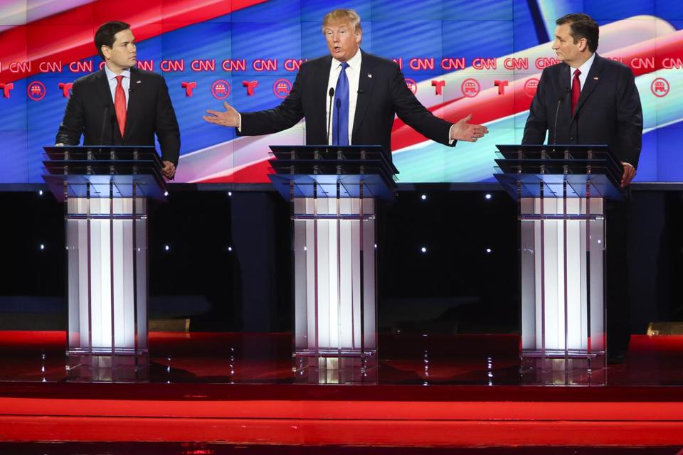 Marco Rubio, Donald Trump, and Ted Cruz during the Republican debate on Thursday in Houston.