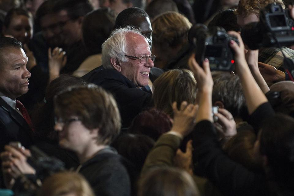 ROCHESTER, MN- FEBRUARY 27: Democratic presidential candidate Sen. Bernie Sanders (D-VT) greets supporters after speaking at the Mayo Civic Center on February 27, 2016 in Rochester, MN. Hillary Clinton defeated rival U.S. Sen. Bernie Sanders (I-VT) in the South Carolina democratic caucuses. (Photo by Stephen Maturen/Getty Images)