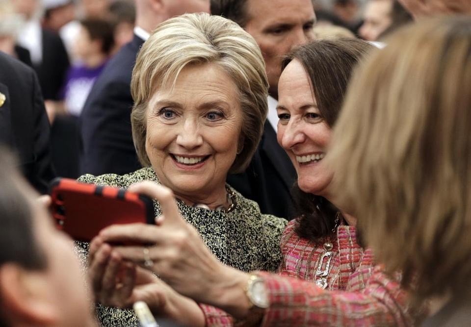 Democratic presidential candidate Hillary Clinton posed for a selfie with a supporter after speaking in Nashville on Sunday.