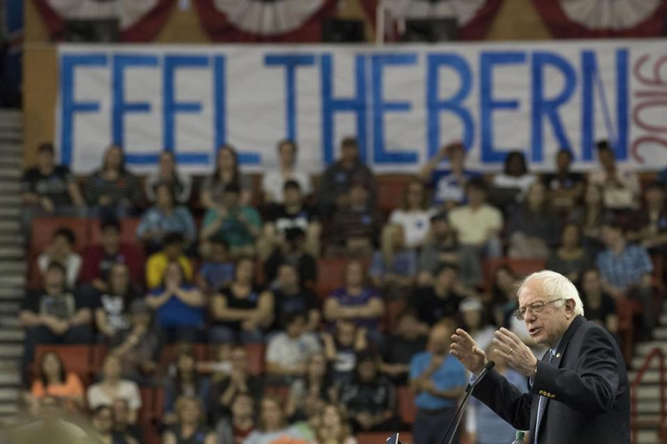 Bernie Sanders spoke during a campaign rally on Sunday in Oklahoma City.