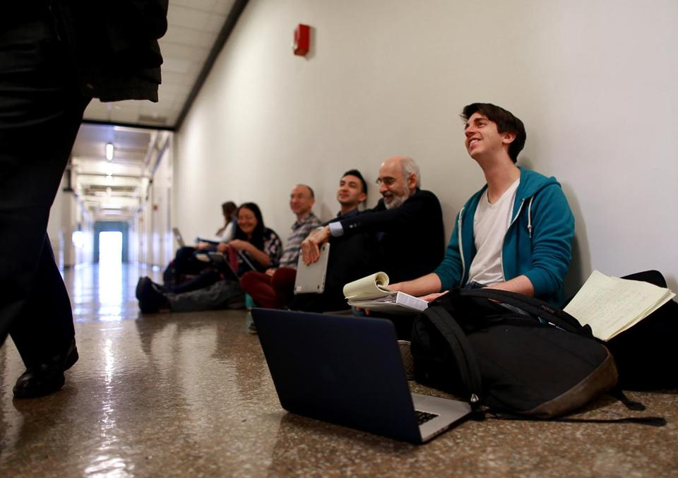 Cambridge Ma MIT Graduate Student Michael DeMarco (cq) was taking part in a Sit-In in The President's Corridor at MIT. He and others are pushing for the university to divest its endowment of Fossil fuels. Globe/Staff Photographer Jonathan Wiggs