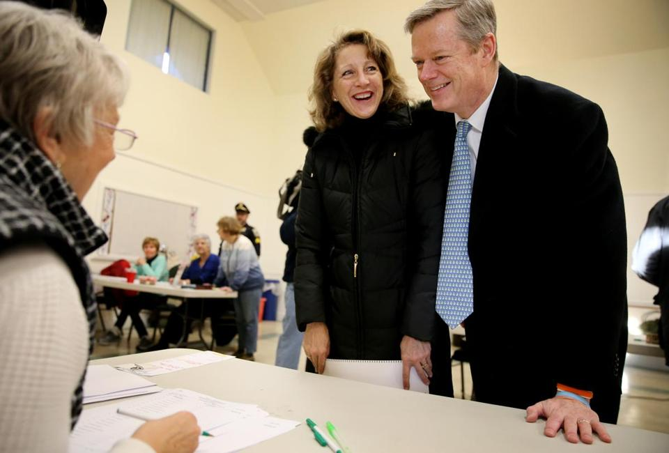 Governor Charlie Baker and his wife, Lauren, checked out after casting their votes Tuesday.
