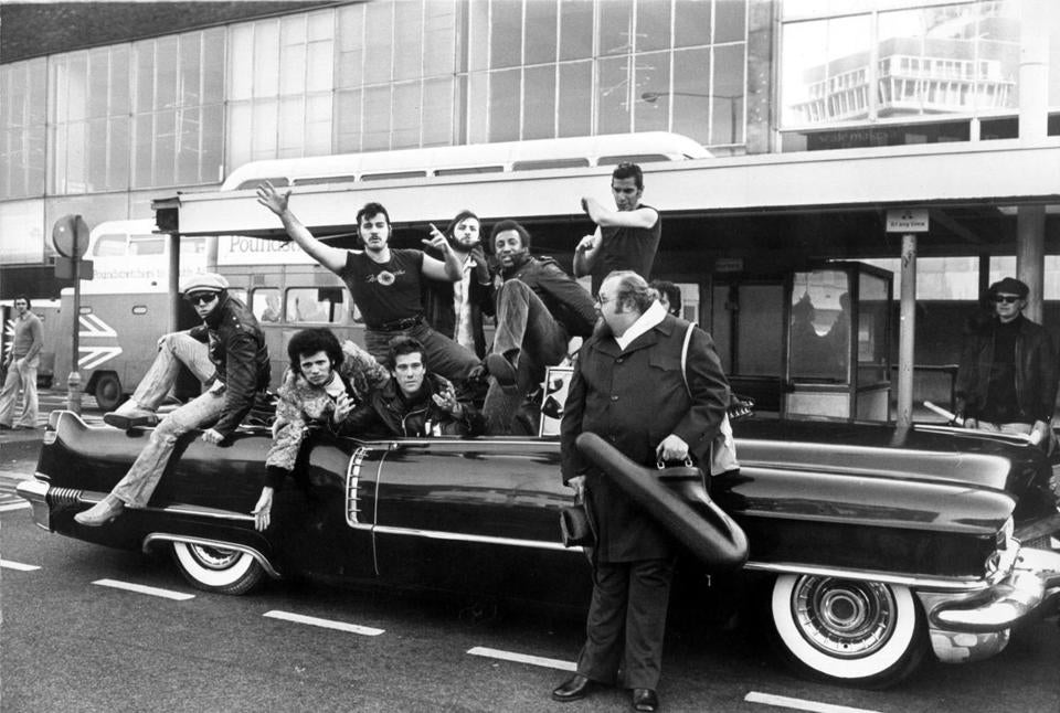 Members  of Sha Na Na in London in 1975.