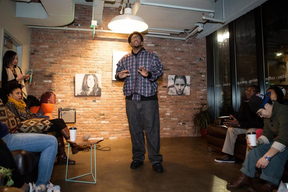 "Joseph ""Skoot"" Mosby at a H.O.P.E. Inc. open mike at Dudley Cafe."