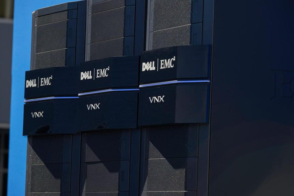 Dell EMC VNX computer systems at the company headquarters in Hopkinton.