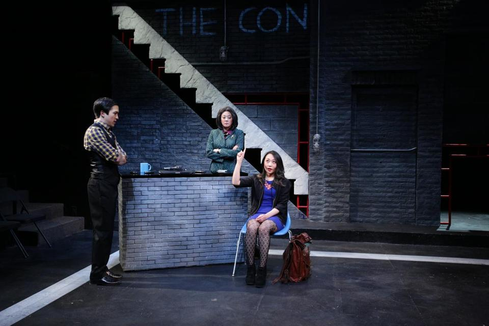 "Tyler Simahk, Lin-Ann Ching Kocar (center), and Theresa Nguyen in ""Fast Company."""