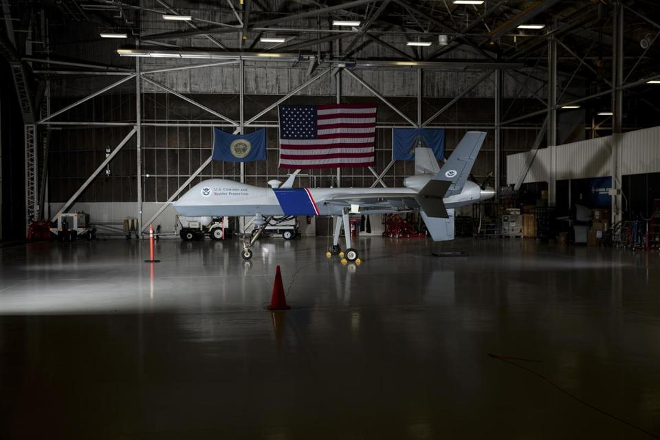The unmanned aircraft system Predator B in a hangar at the Grand Forks Air Force Base in Grand Forks, N.D.