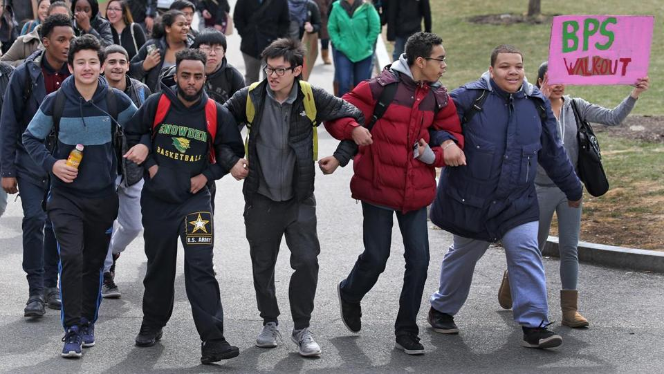 Students marched up from Boston Common to the State House.