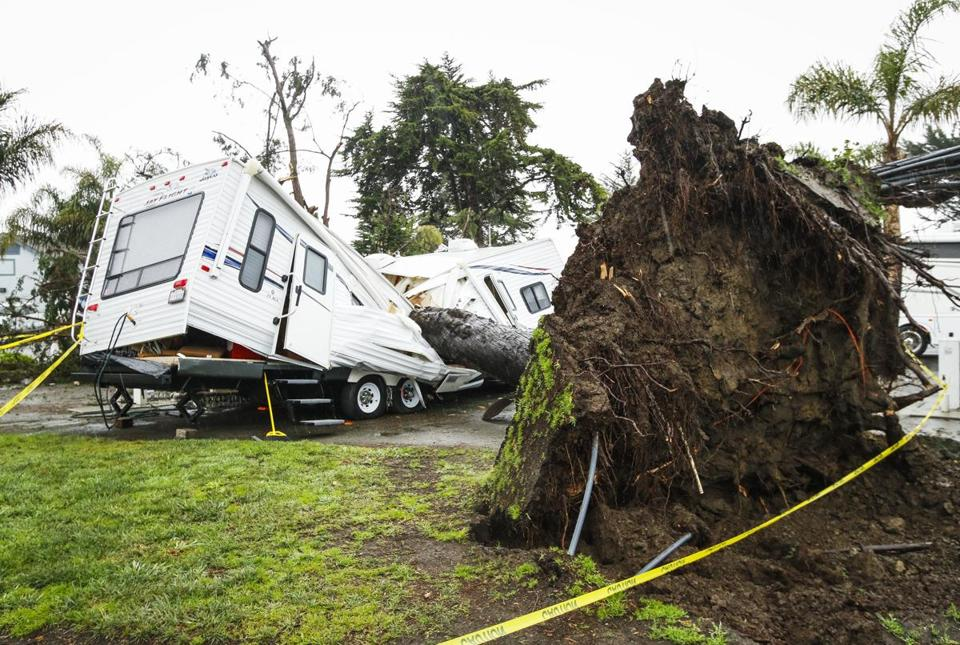 An RV Was Crushed By A Falling Tree In Pismo Beach Calif Monday
