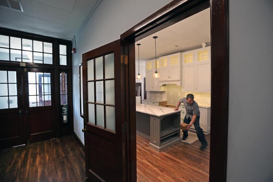 white laminate oak trim cabinets