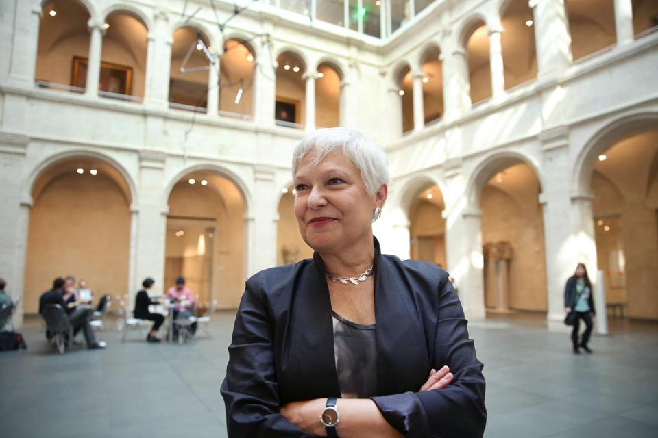 Martha Tedeschi, who has been named the new director of the Harvard Art Museums, in the courtyard of the museum complex.