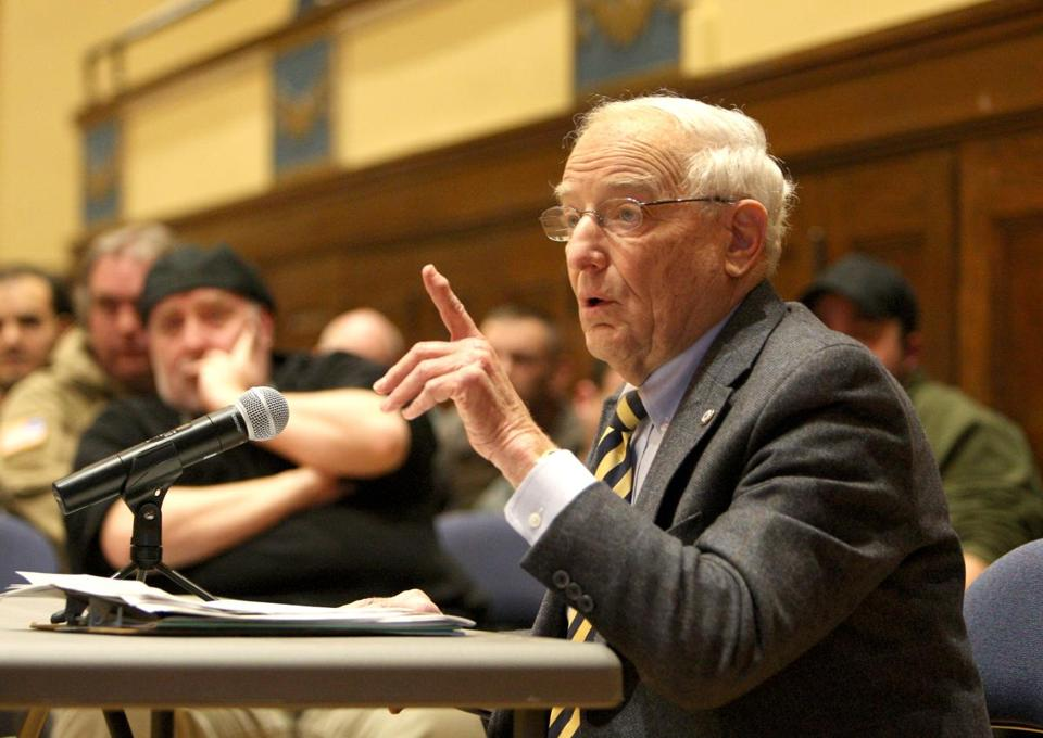 Robert Rotberg discussed his proposed ban of some weapons at last week's selectmen's meeting in Lexington.