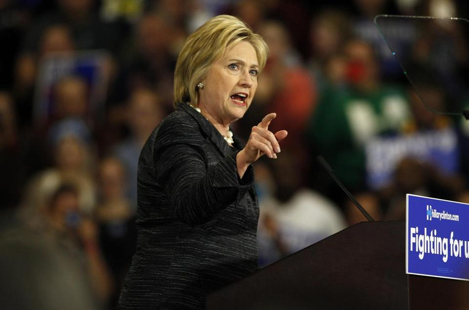 Hillary Clinton spoke during a campaign rally Tuesday in Cleveland.